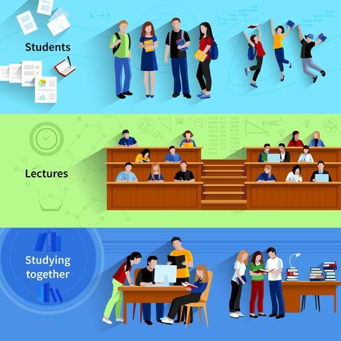 Mensen bij Universiteit Horizontale Banners vector