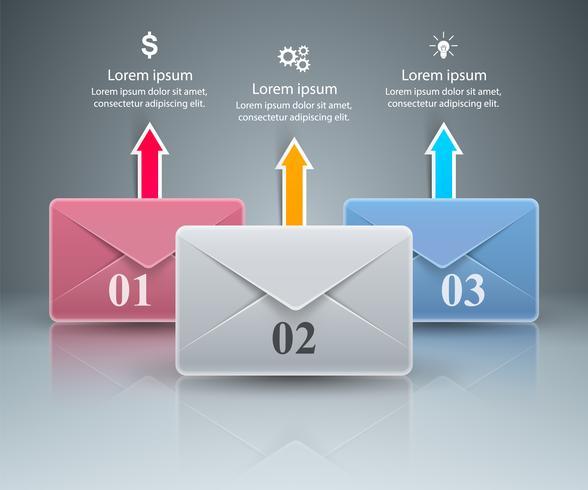 Envelop, e-mail, e-mailpictogram. Abstracte 3D-infographic. vector