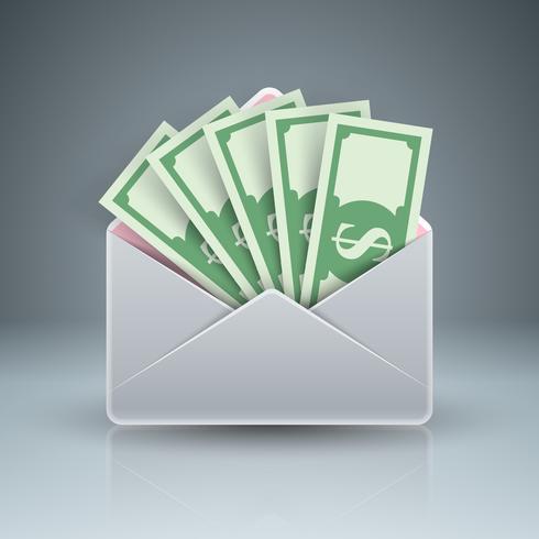 Envelop, mail, e-mail, smeergeld, geld, dollarpictogram. vector