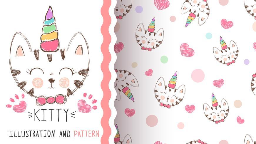 cute kitty, unicorn - seamless pattern vector