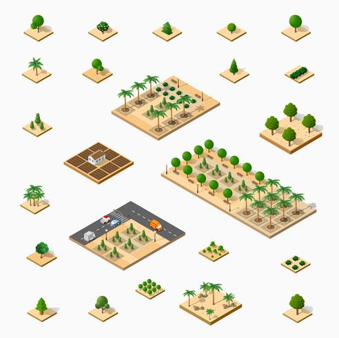 Isometrische 3D-set park vector