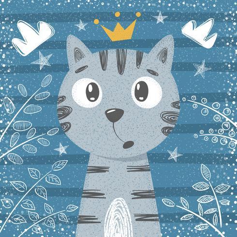 Schattige kleine prinses - kat tekens vector