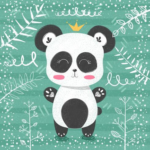 Leuk panda patroon - kleine prinses. vector