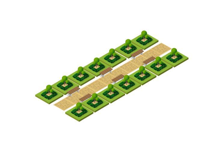 Isometrisch 3d park met groen vector