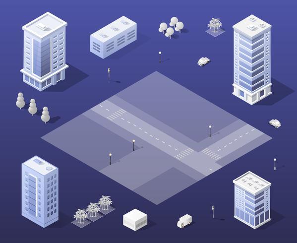 Stad ingesteld moderne wolkenkrabber vector