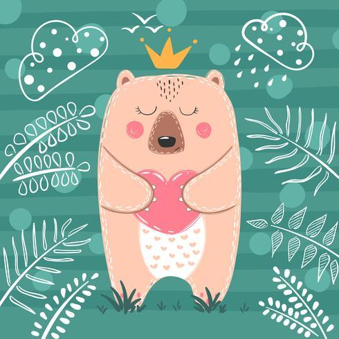 Schattige prinses Beer - cartoon afbeelding. vector