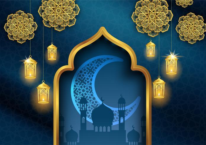 ramadan kareem of eid mubarak islamitische wenskaart ontwerp met gouden lantaarn en halve maan vector