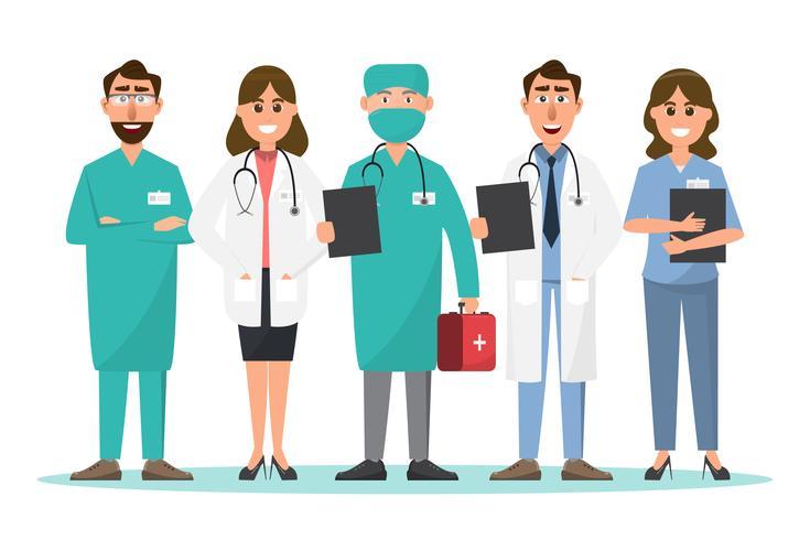 Set van arts en verpleegkundige stripfiguren vector
