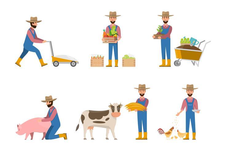 gelukkig boer cartoon in veel tekens instellen vector