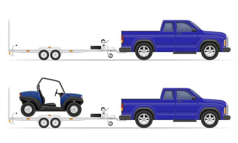 auto pick-up met aanhangwagen vectorillustratie vector