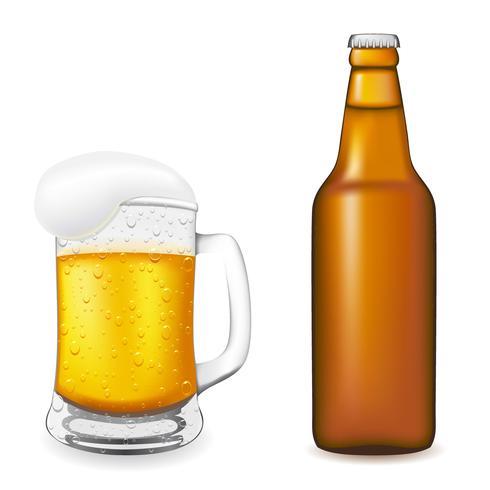bier in glas en fles vectorillustratie vector