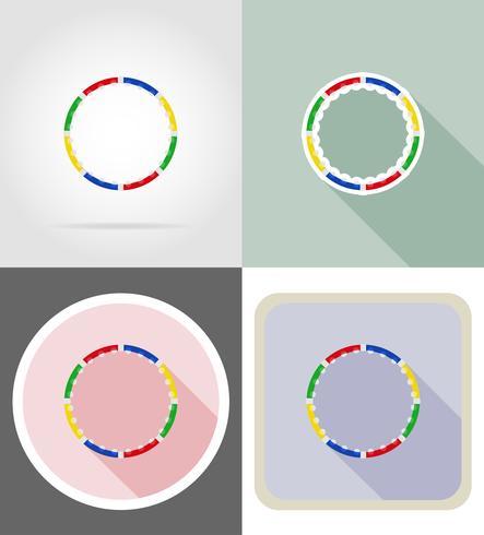 dynamische gezondheid hoepel voor fitness plat pictogrammen vector illustratie