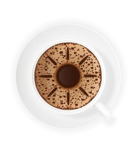 kopje koffie crema en symbool zon vector illustratie