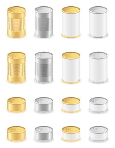 metalen blikje instellen iconen vectorillustratie vector
