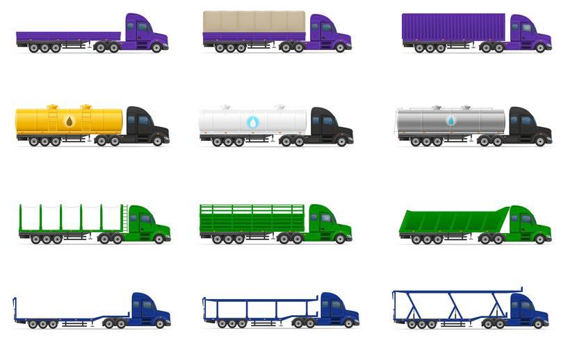 Stel pictogrammen vrachtwagens oplegger vectorillustratie vector