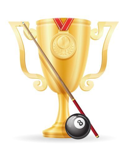 pool biljart cup winnaar gouden voorraad vector illustratie