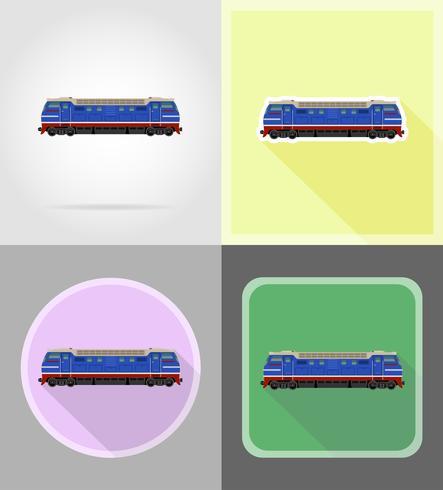 spoorlijn locomotief trein plat pictogrammen vector illustratie