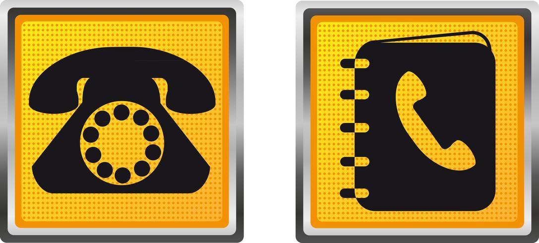pictogrammen telefoon en directory voor ontwerp vectorillustratie vector