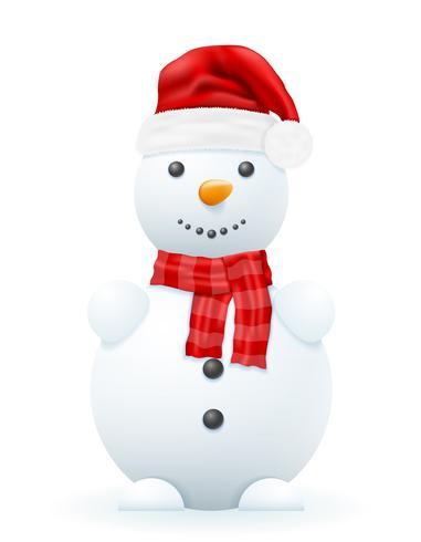 sneeuwpop in een rode Kerstman hoed vector illustratie