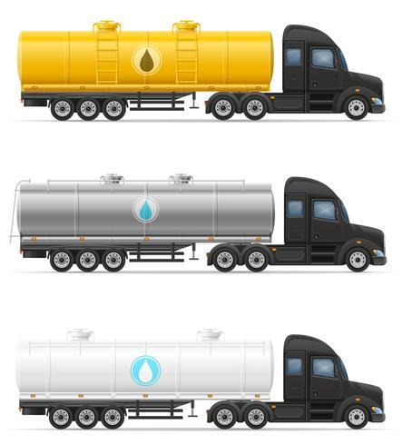 vrachtwagen oplegger levering en transport van tank voor vloeibare vectorillustratie vector