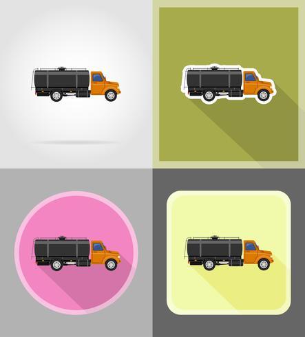 Vrachtwagen levering en transport van brandstof plat pictogrammen vector illustratie