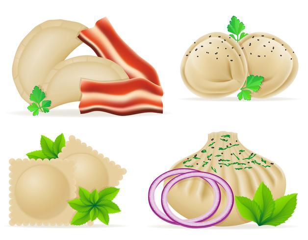 dumplings van deeg met een vulling en Groenen instellen pictogrammen vector illustratie