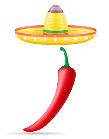 Sombrero nationale Mexicaanse hoofdtooi en peper vectorillustratie vector