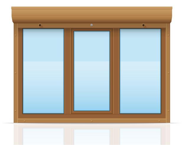 bruin plastic venster met glooiende rolluiken vectorillustratie vector