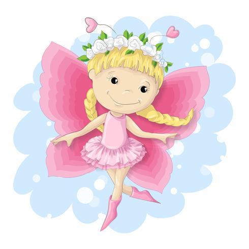 Zoet vlindermeisje in een roze kleding. vector
