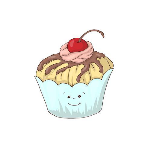 Grappig cupcakekarakter met roze roombovenste laagje, de vectorillustratie van de beeldverhaalstijl die op witte achtergrond wordt geïsoleerd. vector