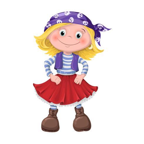 schattig meisje van kinderen piraten vector