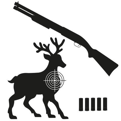 jachtgeweer en doel op een hert zwart silhouet vectorillustratie vector