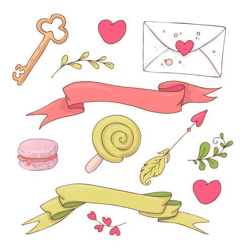 Verzameling van cute cartoon items voor Valentijnsdag met accessoires. vector