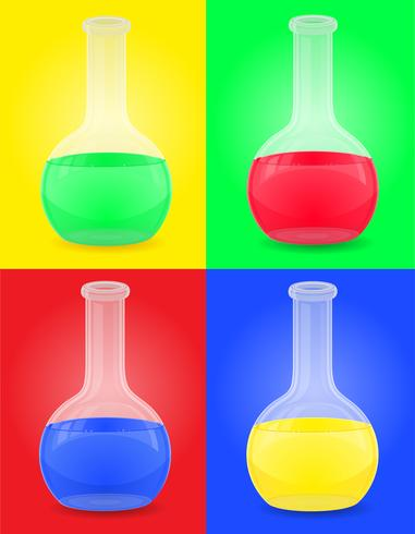 glazen reageerbuis met kleur vloeibare vectorillustratie vector