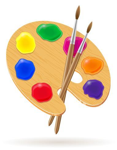 palet voor verven en penseel vectorillustratie vector
