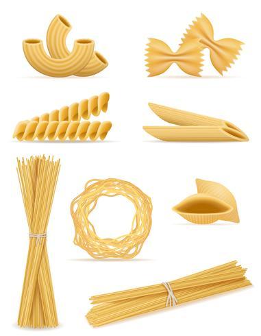 pasta stel pictogrammen vector illustratie