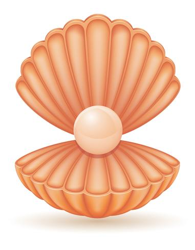 shell met parel vectorillustratie vector