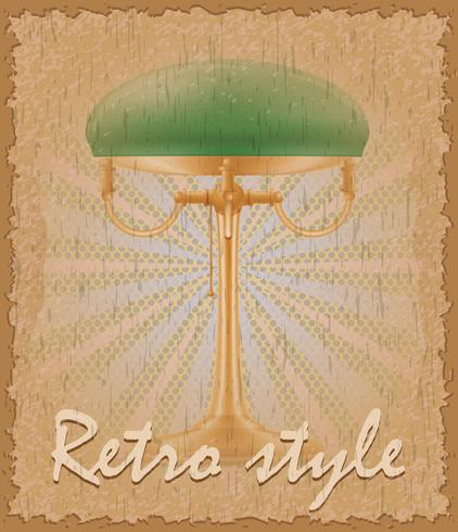 retro-stijl poster oude tafellamp vectorillustratie vector