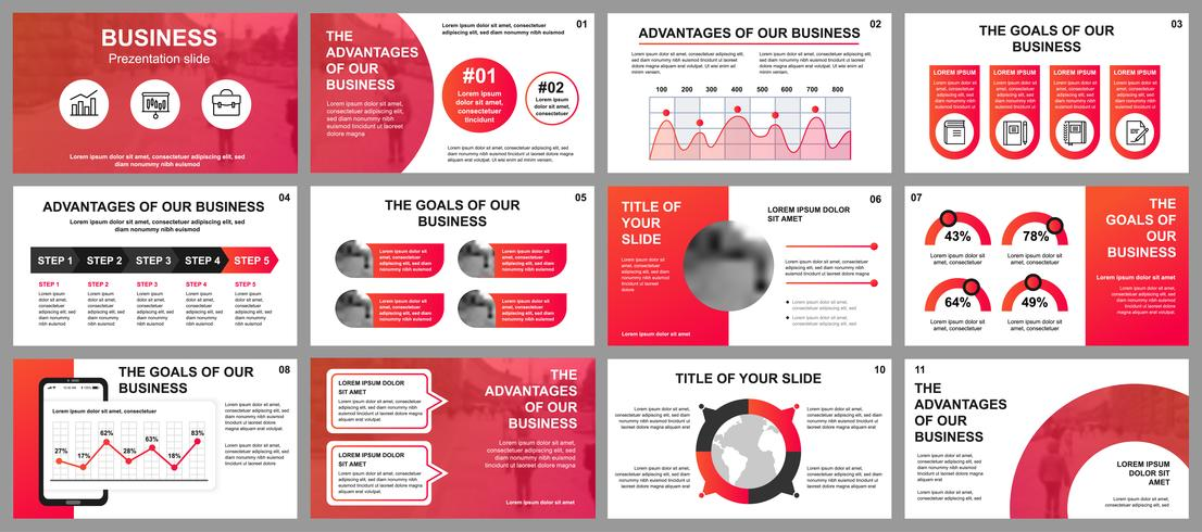 Bedrijfspresentatie schuift sjablonen van infographic elementen. Kan worden gebruikt voor presentatiesjabloon, flyer en folder, brochure, bedrijfsrapport, marketing, reclame, jaarverslag, banner. vector
