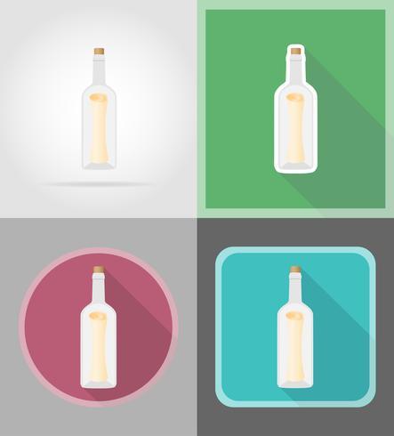 bericht in de fles plat pictogrammen vector illustratie
