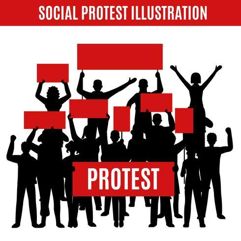 Social Protest silhouetten samenstelling vector