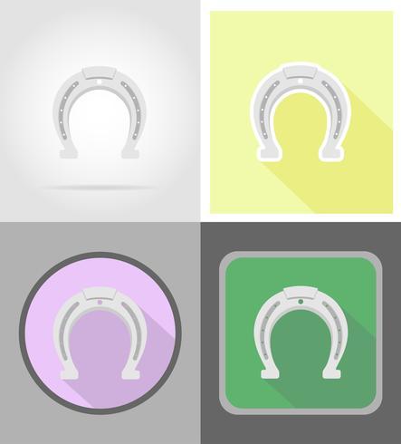 Hoefijzer wilde westen plat pictogrammen vector illustratie