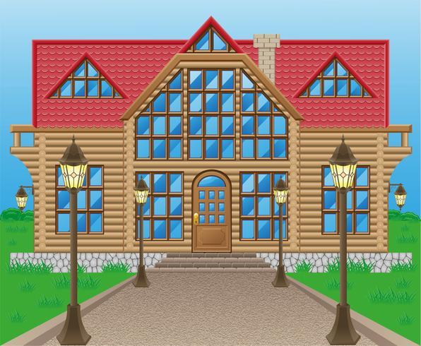 houten huis vectorillustratie vector