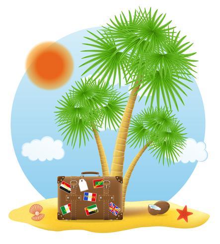 koffer staande onder een palmboom vectorillustratie vector