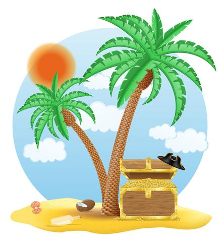 kist van goud staande onder een palmboom vectorillustratie vector
