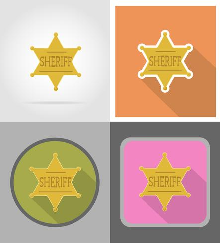 star sheriff wild west plat pictogrammen vector illustratie