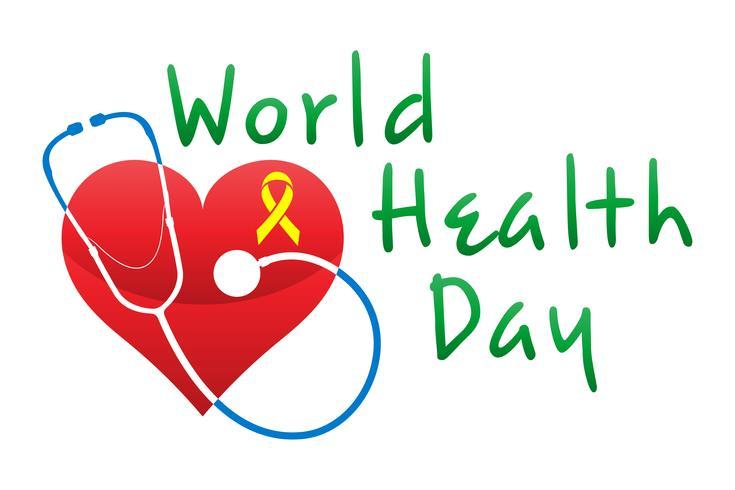 Wereldgezondheidsdag logo tekst banner vectorillustratie vector
