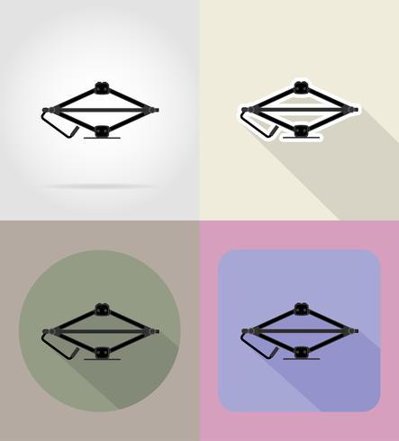 auto jack plat pictogrammen vector illustratie