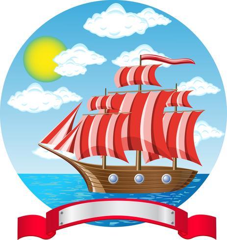 oud houten varend schip aan de kust vector
