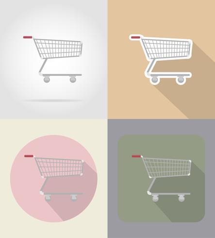 trolley van producten in supermarkt plat pictogrammen vector illustratie